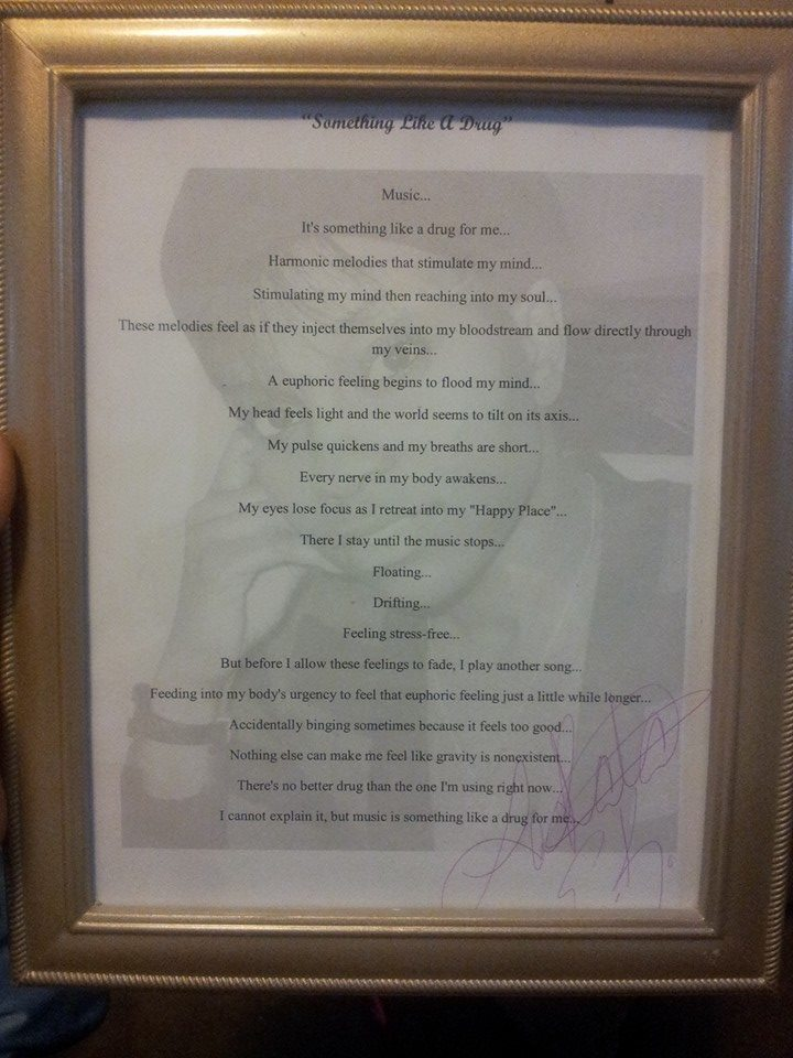 Framed Autographed Poem